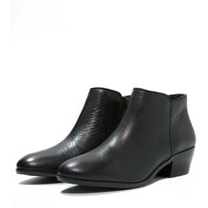 Stacked Heel Leather Petty Ankle Booties